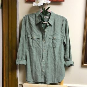 Faherty green chambray button down